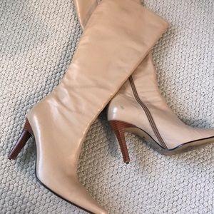 NYLA Cream Tan Leather Tall Boots